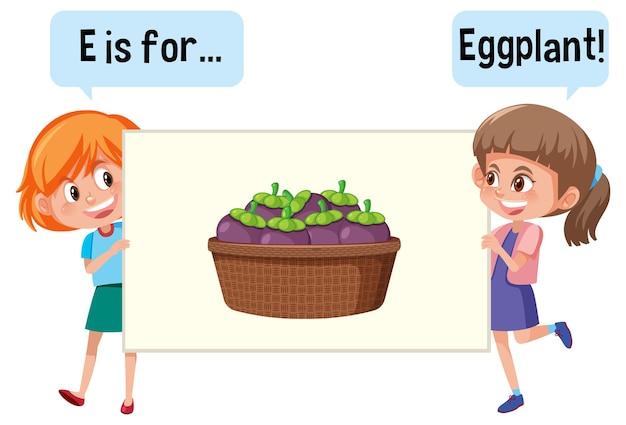 Zeichentrickfigur von zwei kindern, die fruchtvokabular buchstabieren