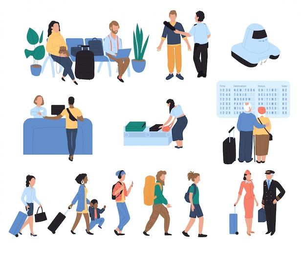 Zeichentrickfiguren der flughafenpassagiere, illustration