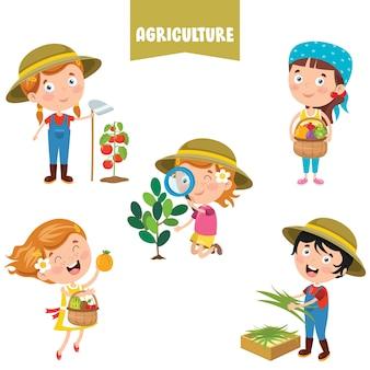 Zeichentrickfiguren, die an der landwirtschaft arbeiten