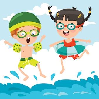 Zeichentrickfiguren, die ins wasser springen