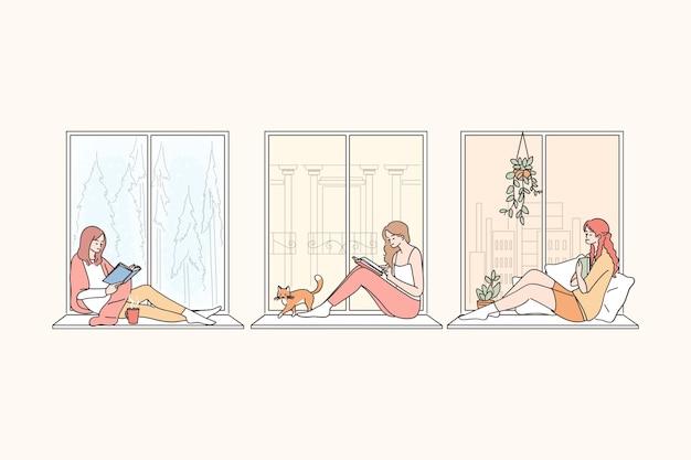 Zeichentrickfiguren junger frauen, die zu hause auf der fensterbank sitzen, lesen, fenster betrachten, denken und freizeit genießen
