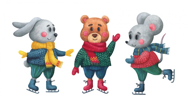 Zeichentrickfiguren, kaninchen-, bären- und mausschlittschuhe.