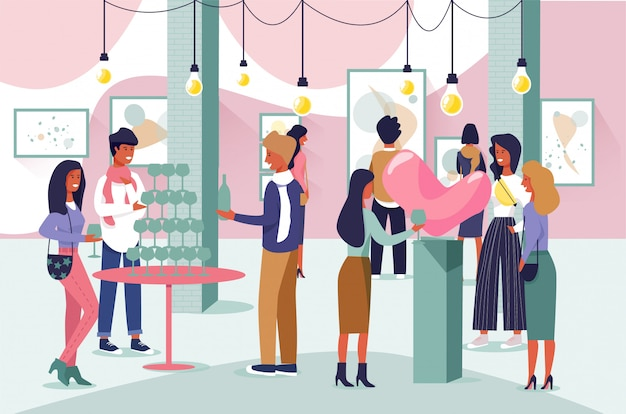 Zeichentrickfiguren menschen besuchen kunstgalerie geöffnet
