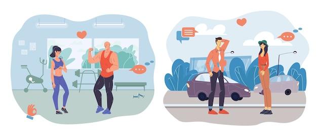 Zeichentrickfiguren sprechen und kommunizieren - verschiedene personen, posen, emotionen und größen. lifestyle-, kommunikations- und modekonzept