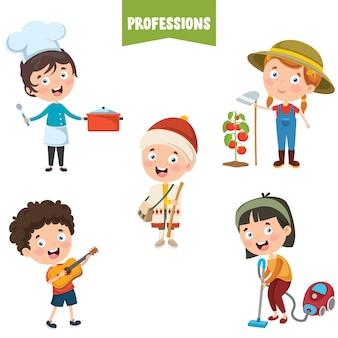 Zeichentrickfiguren verschiedener berufe