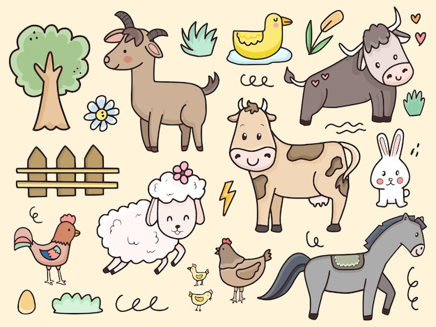 Zeichentrickfilm der farmtier-satzillustration für kinder und baby