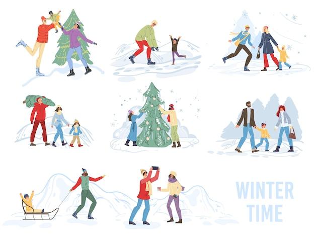 Zeichentrickfilm-familienfiguren, die winteraktivitäten im freien, schlittenfahren, weihnachtsbaum im schnee schmückend tun