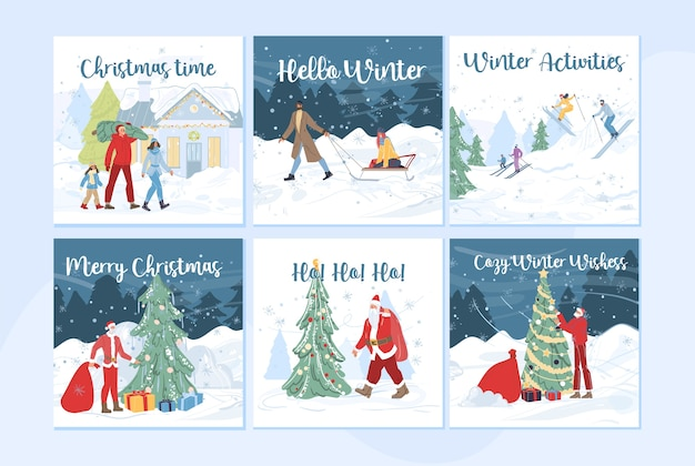Zeichentrickfilm-familienfiguren, die winteraktivitäten im freien, skifahren, weihnachtsbaum verzieren tun