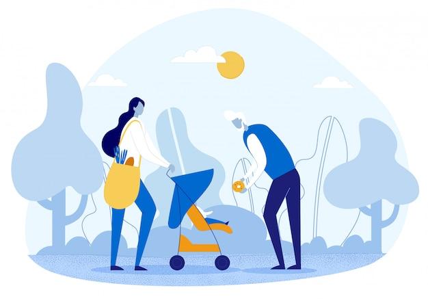 Zeichentrickfilm-familienzeichen auf picknick im grünen park