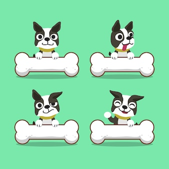 Zeichentrickfilm-figur-boston-terrierhund mit den großen knochen
