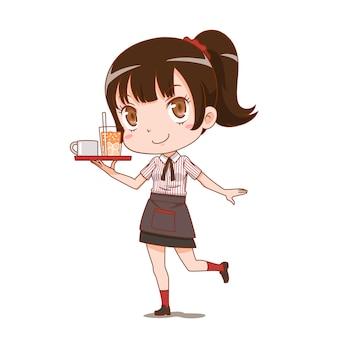 Zeichentrickfilm-figur der kellnerin einen umhüllungsbehälter halten.