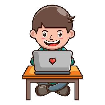 Zeichentrickfilm-figur des kindes, das an laptop arbeitet. kostenlose vektor