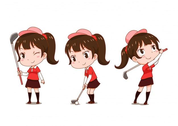 Zeichentrickfilm-figur des mädchens golf spielend.