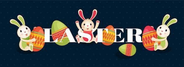 Zeichentrickfilm-figur des netten häschens und der eier mit text des glücklichen ostens