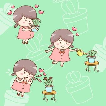 Zeichentrickfilm-figur des reizenden mädchens wachsend und liebe ihrer kaktuspflanze gebend