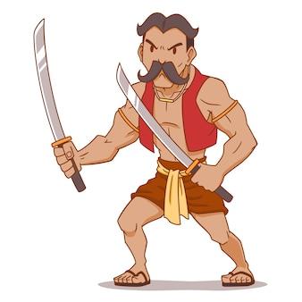 Zeichentrickfilm-figur des thailändischen alten kriegers, der doppelte klingen hält.