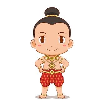 Zeichentrickfilm-figur des thailändischen jungen im traditionellen kostüm