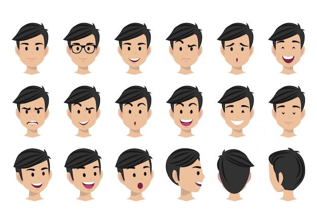 Zeichentrickfilm-figur für animations- und mannkopfvektorsatz
