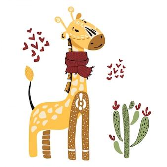 Zeichentrickfilm-figur - giraffe mit kaktus