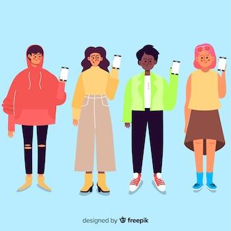 Zeichentrickfilm-figur-gruppe, die smartphone hält