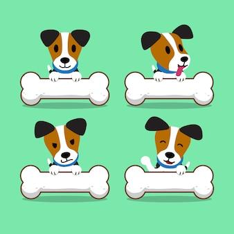 Zeichentrickfilm-figur jack russell terrier hund mit großen knochen