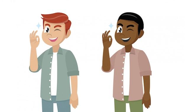 Zeichentrickfilm-figur, junger mann, der okay oder okaygeste zeigt.