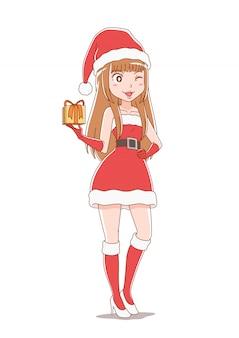Zeichentrickfilm-figur-mädchen, das weihnachtsmann-kleidung trägt.