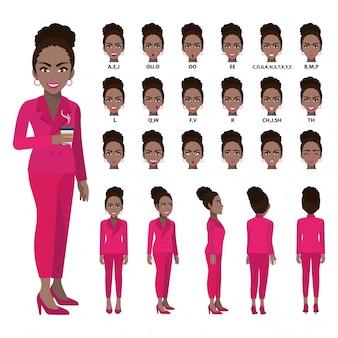 Zeichentrickfilm-figur mit afroamerikanergeschäftsfrau in der klage für animation.