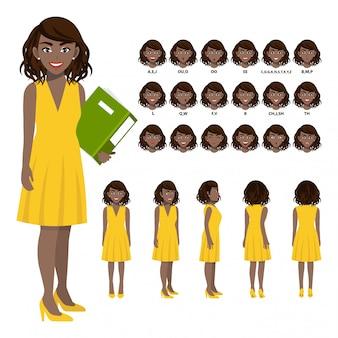 Zeichentrickfilm-figur mit afroamerikanergeschäftsfrau in zufälligem