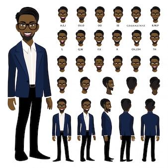 Zeichentrickfilm-figur mit afroamerikanergeschäftsmann in der intelligenten klage für animation.