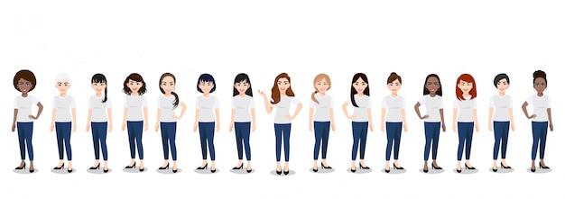 Zeichentrickfilm-figur mit dem frauenteam im weißen und blauen baumwollstoff des t-shirts zufällig