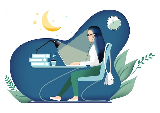 Zeichentrickfilm-figur mit dem mädchen, das spät im büro arbeitet.