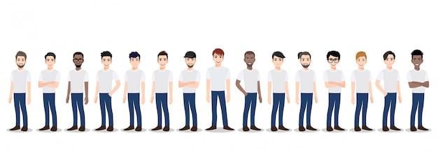 Zeichentrickfilm-figur mit dem mannerteam im t-shirt weißer und blauer baumwollstoff zufällig