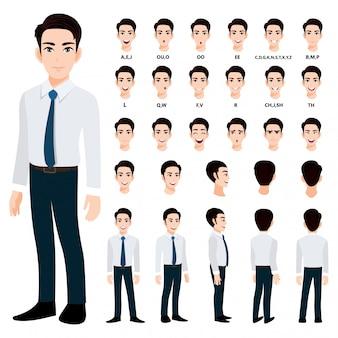 Zeichentrickfilm-figur mit geschäftsmann im intelligenten hemd für animation