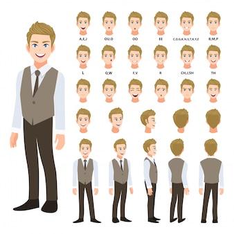 Zeichentrickfilm-figur mit geschäftsmann im intelligenten hemd und in der weste für animation. vorderseite, seite, rückseite, mehrere ansichtscharakter. körperteile trennen. flache vektor-illustration.
