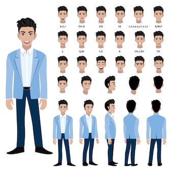 Zeichentrickfilm-figur mit geschäftsmann in der klage für animation. vorderseite, seite, rückseite, mehrere ansichtscharakter. körperteile trennen. flache vektor-illustration.