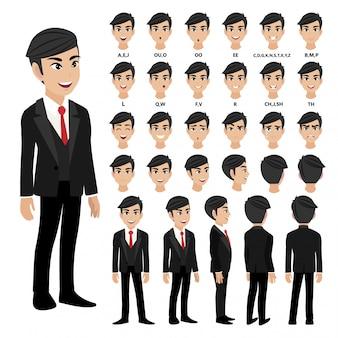 Zeichentrickfilm-figur mit geschäftsmann in der klage für animation.