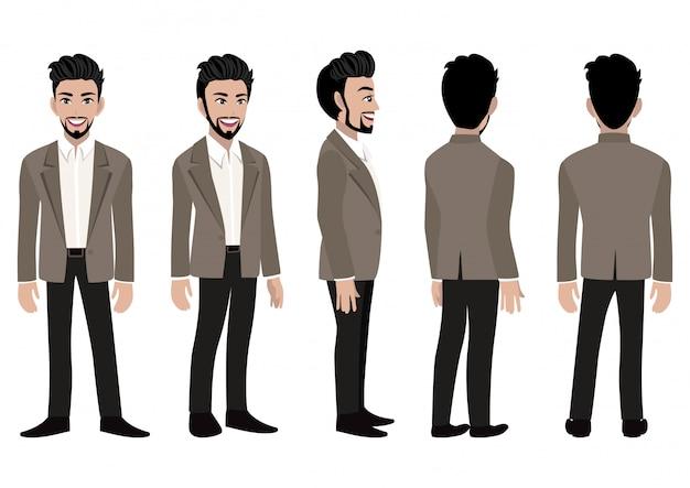 Zeichentrickfilm-figur mit geschäftsmann in einer intelligenten klage für animation.
