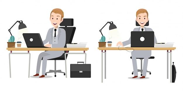 Zeichentrickfilm-figur mit geschäftsmannarbeitscharaktervektor