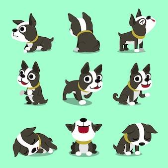 Zeichentrickfilm-figur nette boston-terrierhundehaltungen eingestellt