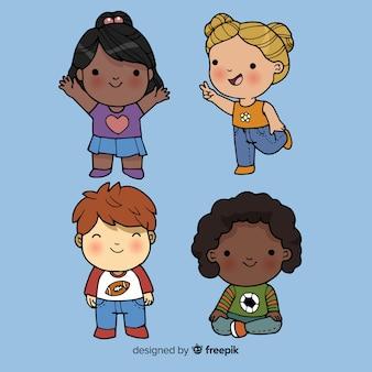 Zeichentrickfilm-figur-satz der kinder tages