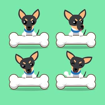 Zeichentrickfilm-figur-spielzeugterrierhund mit den großen knochen