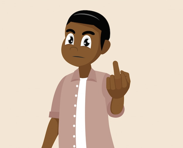 Zeichentrickfilm-figur wirft auf, afrikanischer mann zeigt den mittelfinger. obszöne geste.