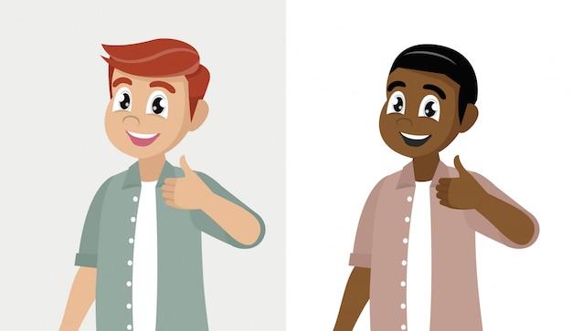 Zeichentrickfilm-figur wirft auf, glücklicher mann zeigt sich daumen.