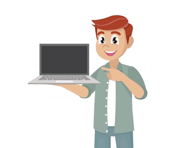 Zeichentrickfilm-figur wirft, der glückliche mann auf, der den leeren bildschirm einer laptop-computer hält oder zeigt und handfinger zeigt.