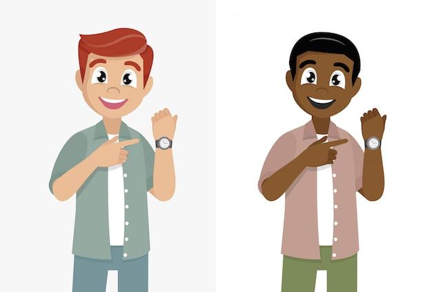 Zeichentrickfilm-figur wirft, der mann auf, der zeit auf seiner armbanduhr zeigt oder zeigt. designillustration des männlichen charakters.