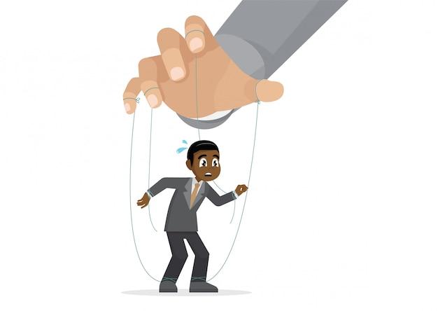 Zeichentrickfilm-figur wirft, die afrikanische geschäftsmannmarionette auf, die mit seil vom puppenspieler gesteuert wird.