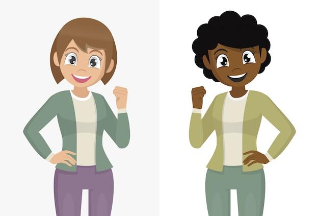 Zeichentrickfilm-figur wirft, die frau auf, die mit lächeln auf gesicht überzeugt schaut.