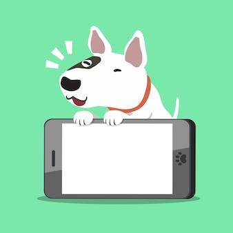 Zeichentrickfilm-figurbullterrierhund mit einem großen smartphone