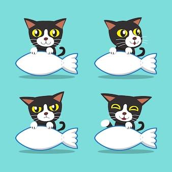 Zeichentrickfilm-figurkatze mit großem fischzeichen